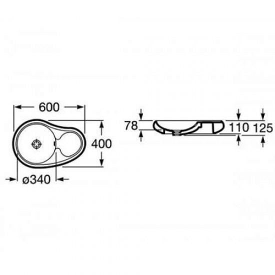 Порцеланов умивалник 60/40 Roca Urbi 7 -  A327570000