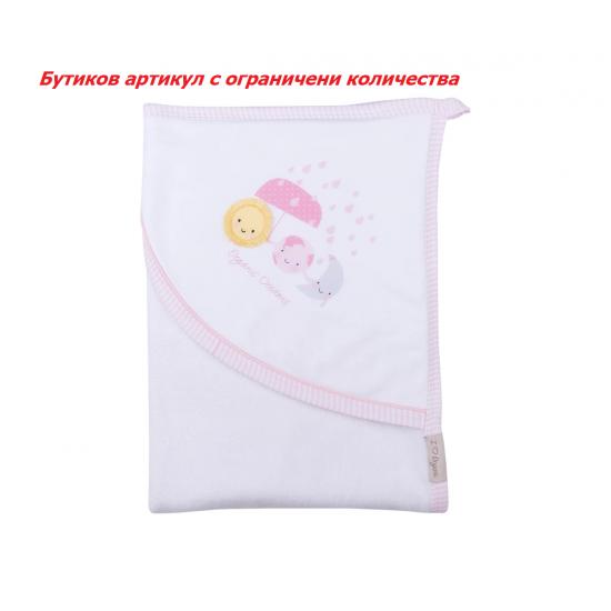 Бебешка хавлия Kitikate, момиче, розова, 0-1 г.